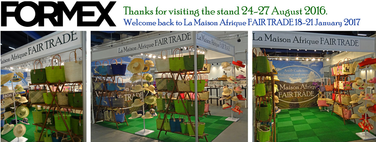 Fairtrade crafts handbags and hats at Formex exhibitor La Maison Afrique FAIR TRADE 2016